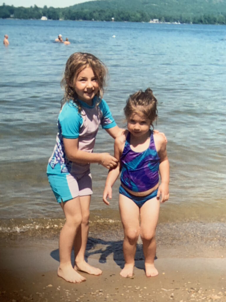 little daughters at the beach
