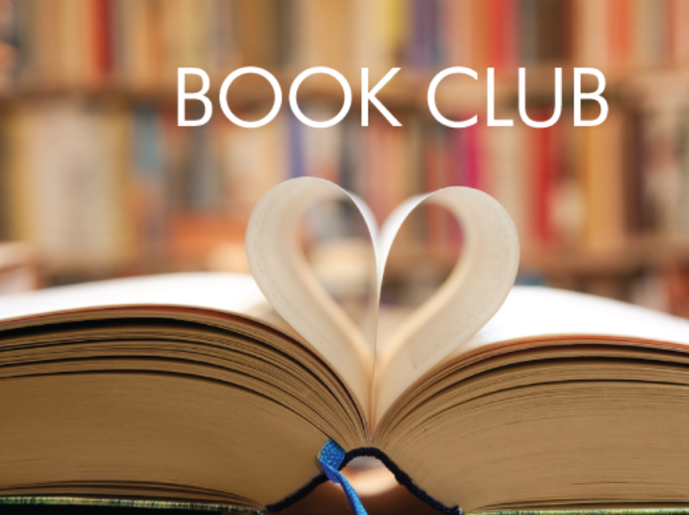 """image of book with pages folded into a heart and words """"book club"""""""